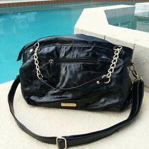 Steve Madden black patent leather gold chain bag
